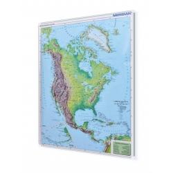 Ameryka Północna Fizyczna 122x154cm. Mapa w ramie aluminiowej.
