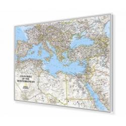 Kraje Basenu Morza Śróddziemnego/Europa Południowa i Afryka Północna 82x60cm. Mapa w ramie aluminiowej.