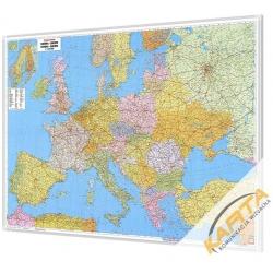 Europa polityczno-drogowa 134x89cm. Mapa w ramie aluminiowej.