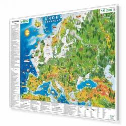 Europa w obrazkach dla dzieci 148x100 cm. Mapa w ramie aluminiowej.