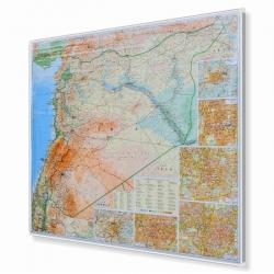 Syria i Liban drogowo-fizyczna 105x90cm. Mapa w ramie aluminiowej.