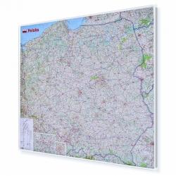 Polska Drogowa 110x100cm. Mapa w ramie aluminiowej.