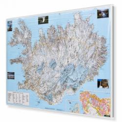 Islandia drogowo-fizyczna 140x98cm. Mapa magnetyczna.