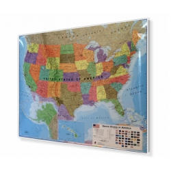 Stany Zjednoczone/USA Polityczna 126x102cm. Mapa magnetyczna.