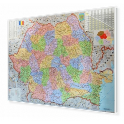 Rumunia administracyjno-drogowa 166x120cm. Mapa magnetyczna.