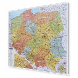 Polska Administracyjno-drogowa (tablice rejestracyjne) 96x90cm. Mapa do wpinania.