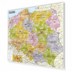 Polska administracyjno-drogowa 124x118cm. Mapa do wpinania.