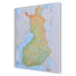 Finlandia drogowo-fizyczna 88x122cm. Mapa do wpinania.