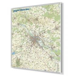 Wrocław/Okolice Wrocławia 125x150cm. Mapa do wpinania.