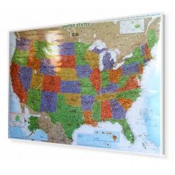 Stany Zjednoczone/USA ozdobna 116x78cm. Mapa do wpinania.