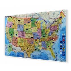 Stany Zjednoczone/USA kodowa 105x61cm. Mapa do wpinania.
