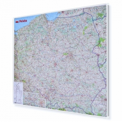 Polska Drogowa 110x100cm. Mapa do wpinania.