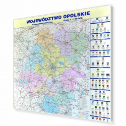 Opolskie administracyjna 110x123cm. Mapa do wpinania.