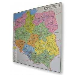 Polska kodowo-drogowa 104x94cm. Mapa do wpinania.