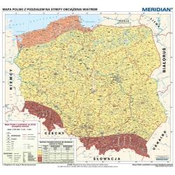 Polska z podziałem na srefy obciązenia wiatrem 120x110cm. Mapa ścienna.