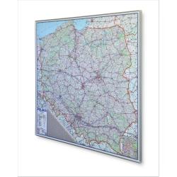 Polska Drogowa 110x98cm. Mapa w ramie aluminiowej.