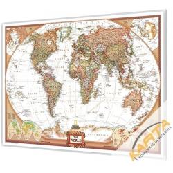 Świat Polityczny Brąz 117x77cm. Mapa w ramie aluminiowej.