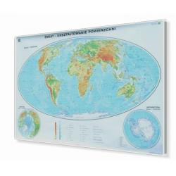Świat fizyczny-ogólnogeograficzny 160x120 cm. Mapa w ramie aluminiowej.