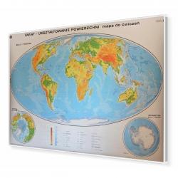 Świat ogólnogeograficzny do ćwczeń 200x140 cm. Mapa w ramie aluminiowej.
