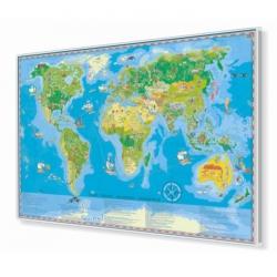 Świat Młodego Odkrywcy dla dzieci 140x100cm. Mapa w ramie aluminiowej.