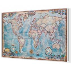 Świat ozdobny antyczny z flagami 140x94cm. Mapa do wpinania.