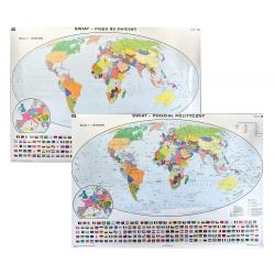 Świat Polityczny/konturowy do ćwiczeń 200x140cm. Mapa ścienna dwustronna.