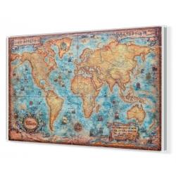 """Świat z węzłami - stylizowany """"antyczny"""" 140x94cm. Mapa magnetyczna."""