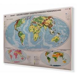 Świat Wielkie formy ukształtowania powierzchni 160x120cm. Mapa w ramie aluminiowej.