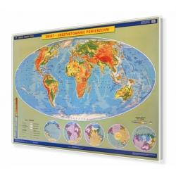 Świat ukształtowanie powierzchni 160x120cm. Mapa do wpinania.