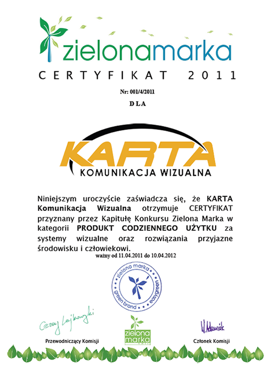 Certyfikat zielonamarka 2009